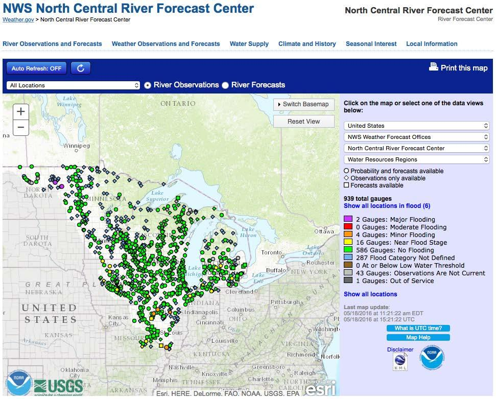 Mississippi River Basin conditions May 18, 2016