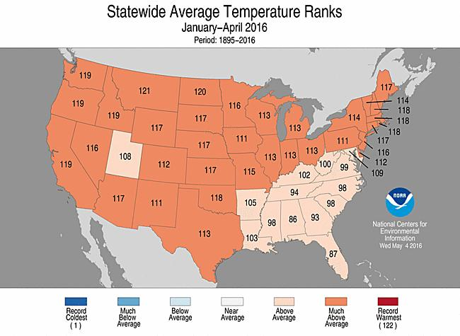 The contiguous United States average temperature since January 1 was