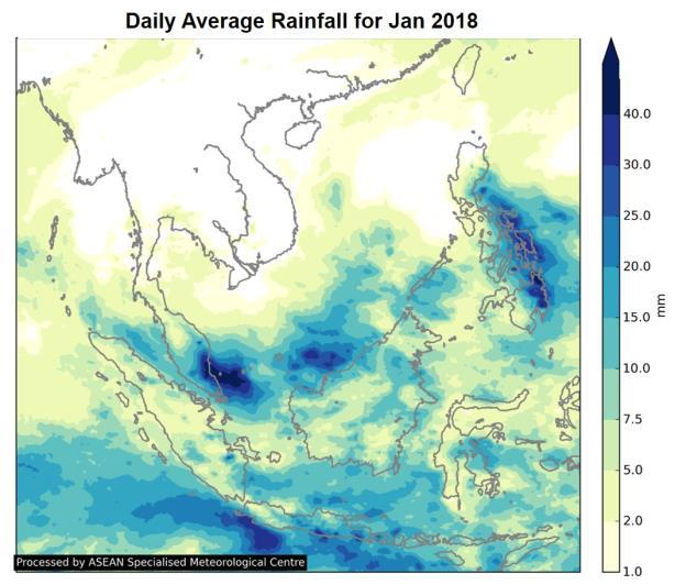 Wet weather conditions were mostly over the Philippines and the southern ASEAN region, while drier weather conditions were experienced over the northern ASEAN region, particularly over Lao PDR and