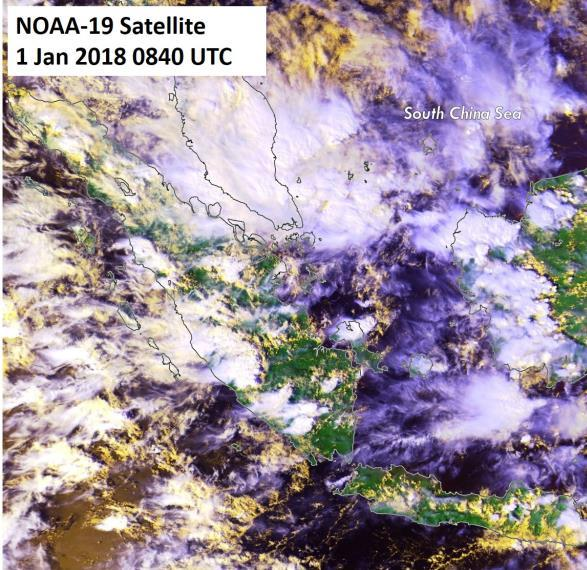 Figure 6: NOAA-19 satellite image on 1 January shows wet weather conditions