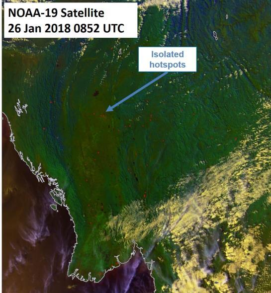 image on 26 January 2018 shows isolated hotspots over parts of Myanmar.