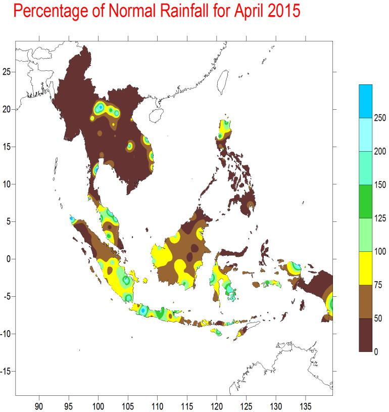UPDATE OF REGIONAL WEATHER AND SMOKE HAZE FOR MAY 2015 1. Review of Regional Weather Conditions in April 2015 1.1 Inter-Monsoon conditions prevailed over the ASEAN region in April 2015.