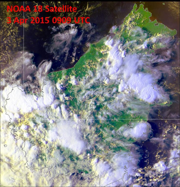 Fig. 2B: NOAA-18 satellite image on 3 April 2015 shows showers