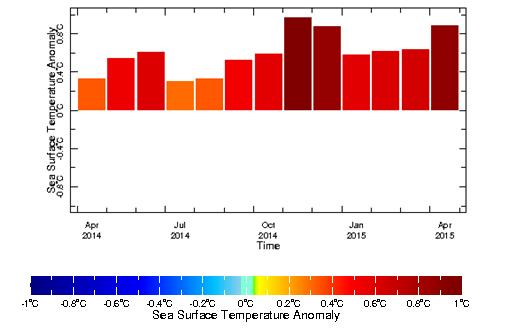 Fig. 3BMonthly sea-surface temperature anomaly over the Niño3.