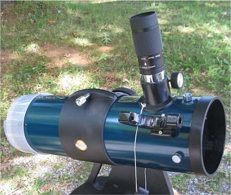 Severe and permanent eye damage will occur if the sun is observed with this telescope! Meet the Loaner Scope! Unpack the telescope: 1. Carefully unbuckle the telescope from the seat belt. 2.