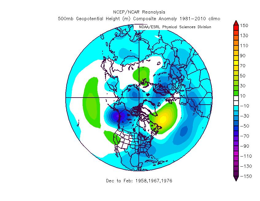 QBO continued The QBO years/winters that I think are the best fit to this year are 1957-58, 1966-67, and 1975-76. They produce the 500mb anomaly pattern to the left.