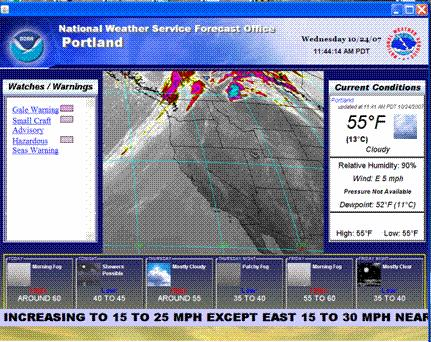 Fully Localized Atmospheric Research Environment FLARE Desktop Weather Display System - Observational data - Zone forecasts - 5 different panels - Looping image panel -Warning display mode