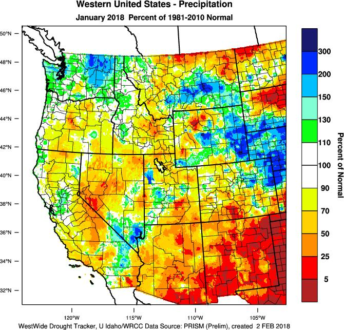 throughout the western US. As a result, many regions across California, Nevada, Arizona and Oregon have less than 40% of their normal snowpack.