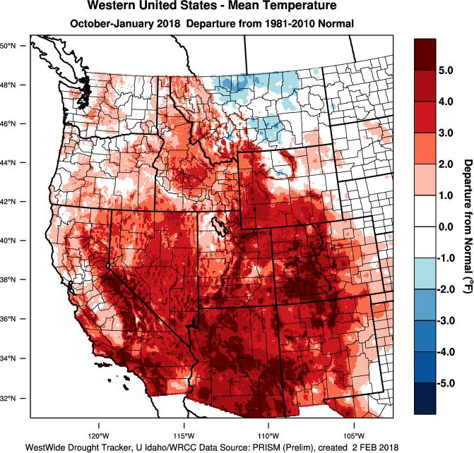 For the water year to date (starting October 1 st ) the warmer and drier conditions are evident over most of the western US (Figure 2).
