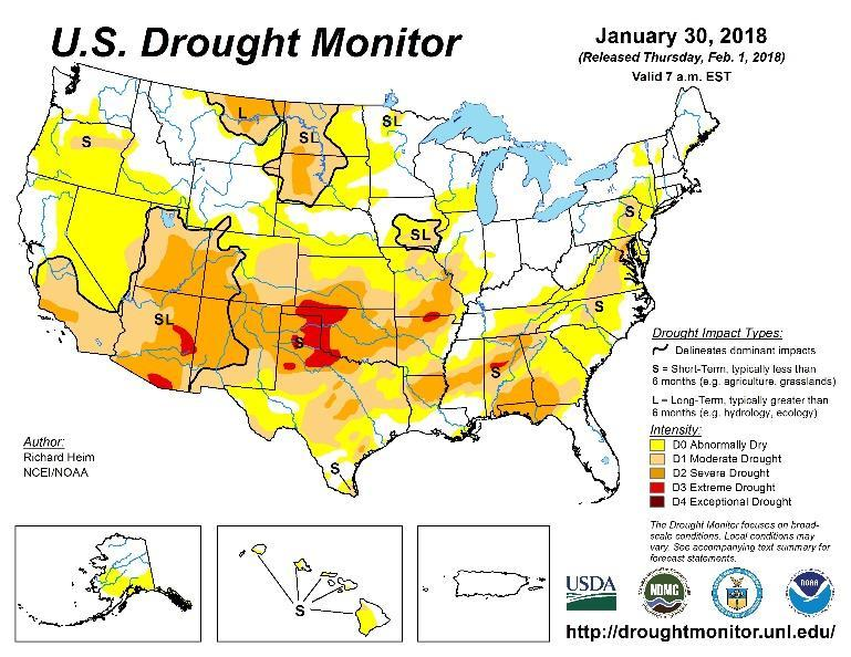 Figure 3 Current US Drought Monitor and seasonal drought outlook.