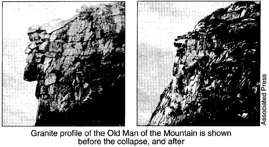 UNIT 3 EXAM ROCKS AND MINERALS NAME: BLOCK: DATE: 1. Base your answer to the following question on on the photographs and news article below. Old Man s Loss Felt in New Ha