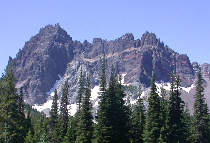 Eroded Volcanoes like Three-fingered Jack show the