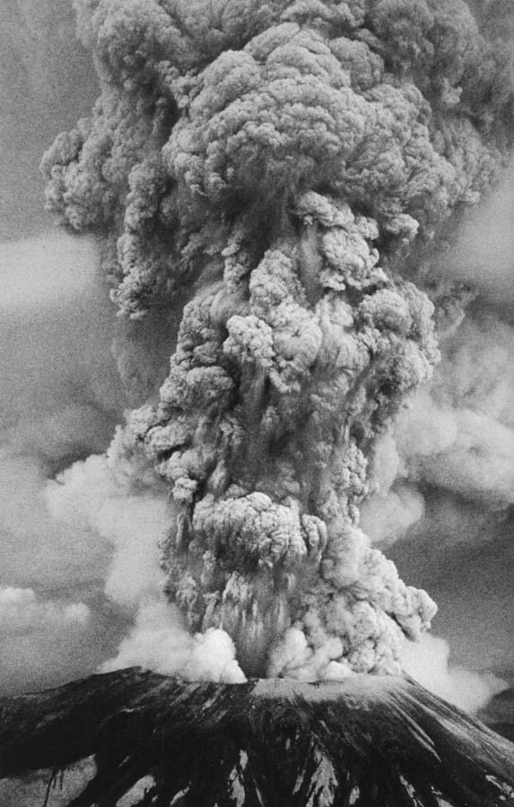 After the first few minutes, the ash erupted upward and