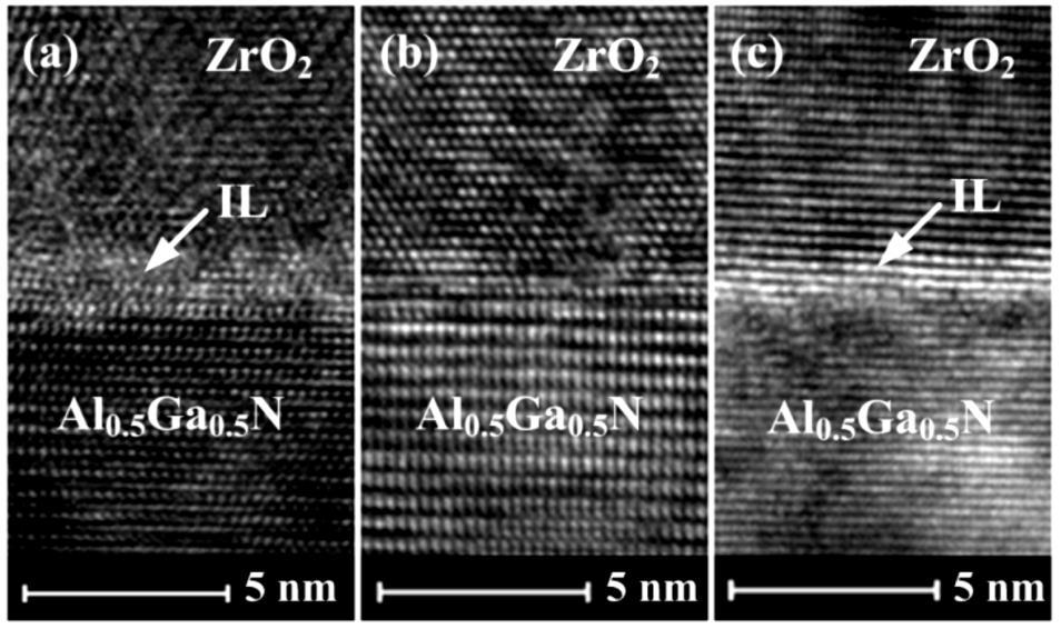 Fig.4 Cross-sectional TEM images of the ZrO2 dielectric layers on Al0.5Ga0.5N: (a) asdeposited (N. A), (b) annealed at 500 oc in N2 for 30 s, and (c) annealed at 700 oc in N2 for 30 s.