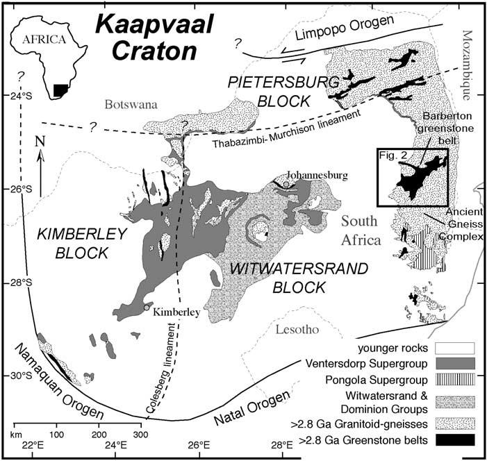 Figure 1. Geologic map of exposed Archean rocks in the Kaapvaal craton, modified from Schmitz et al. [2004].