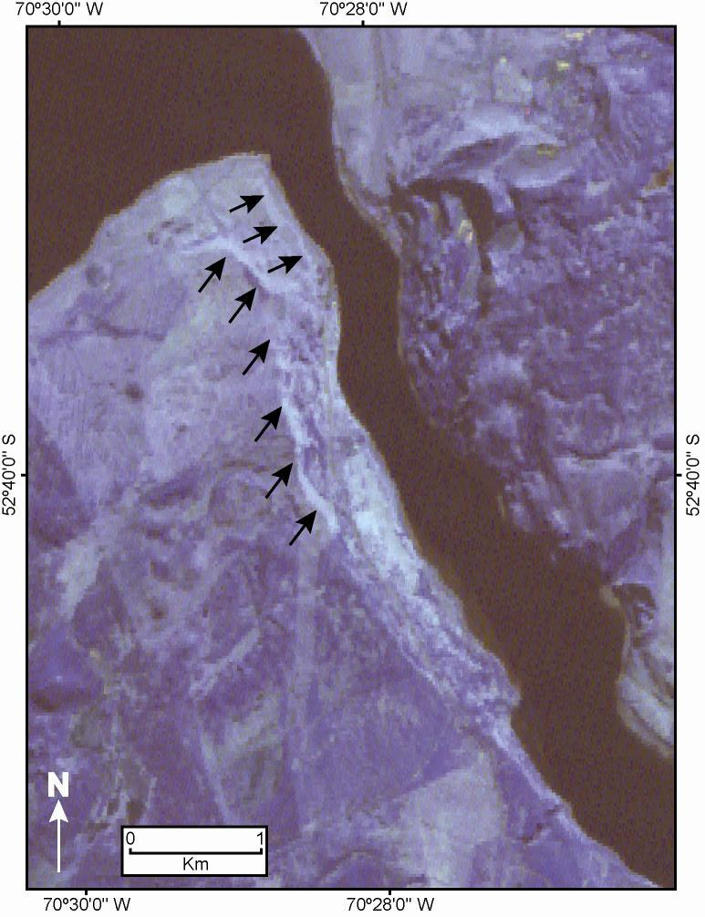Figure ASTER subscene (bands 1,, N) showing two of the distinct linear features located at the