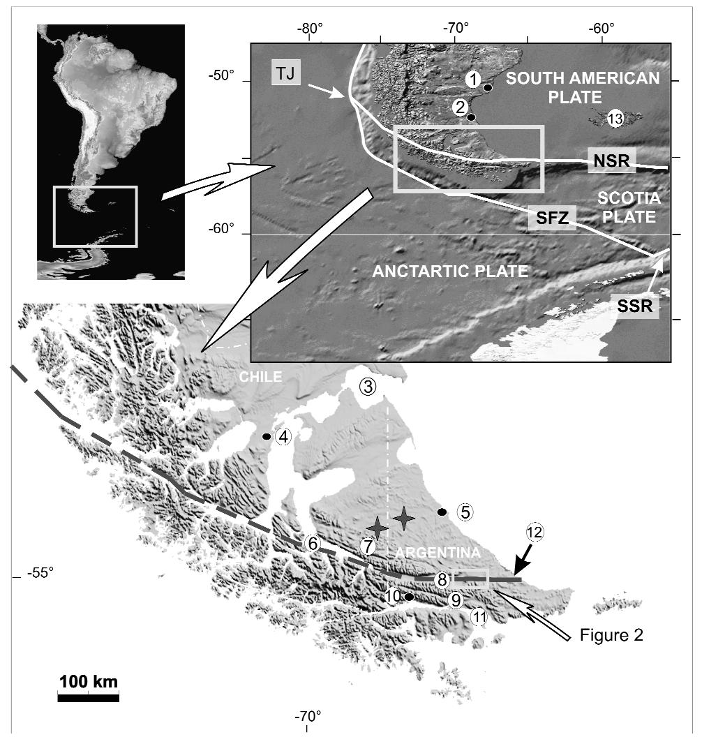 648 C. H. COSTA, R. SMALLEY, JR., D. P. SCHWARTZ, H. D. STENNER, M. ELLIS, E. A. AHUMADA AND M.S. VELASCO Figure 1: Regional tectonic setting of the Tierra del Fuego Island with the location of the main plates.