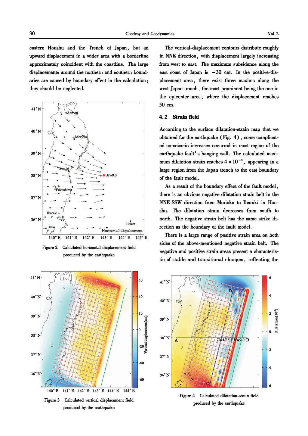 3 Geodesy and Geodynamics Vol.2 eastern Houshu and the Trench of Japan, but an upward displacement in a wider area with a borderline approximately coincident with the coastline.