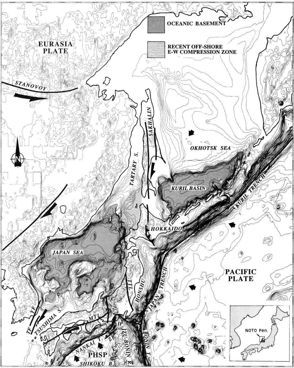 2702 FOURNIER ET AL.: NEOGENE DEXTRAL MOTION IN SAKHALIN AND JAPAN SEA EURASIAI PLATE OCEANIC BASEMENT RECENT OFF-SHORE E-W COMPRESSION ZONE OKHOTSK KURIL BASIN ::JAPAN SEA-! /PACIFIC PLATE Fig. 1.