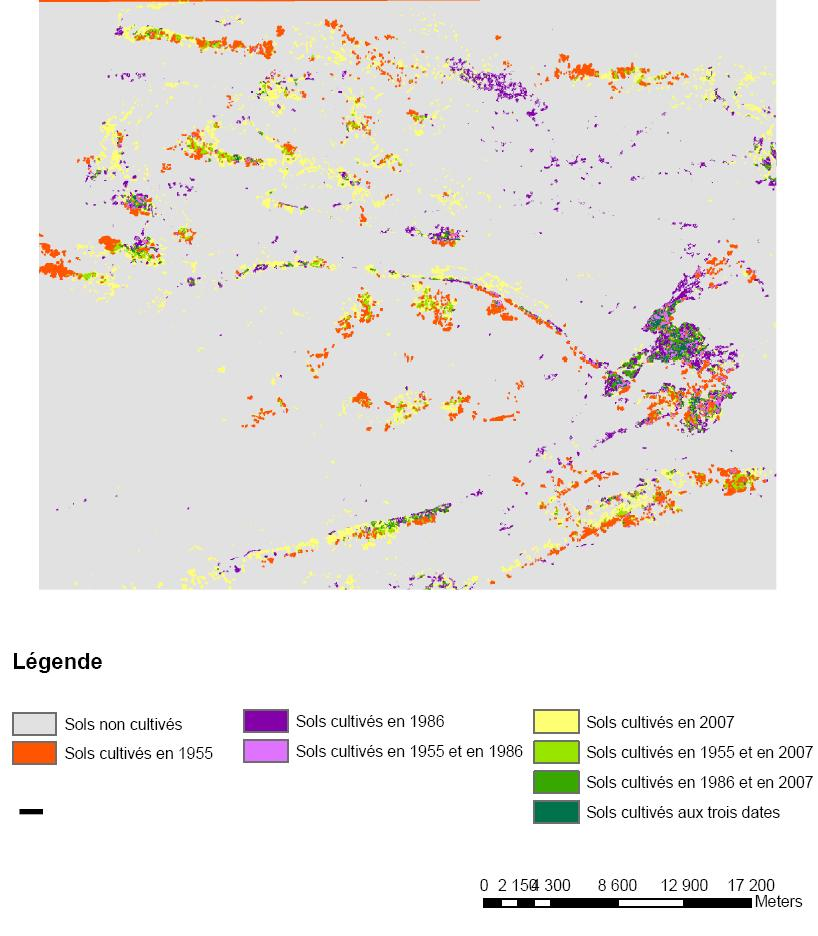 Maps of cultivated surfaces in 1955, 1986 and 2007 are then superimposed (Fig.10) to assess the dynamics of agricultural land use.