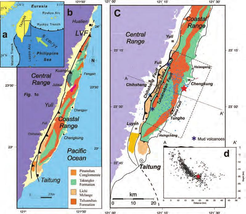 464 Jiang et al. Fig. 1. (a) Plate tectonic setting of Taiwan. (b) General geology of the Coastal Range.