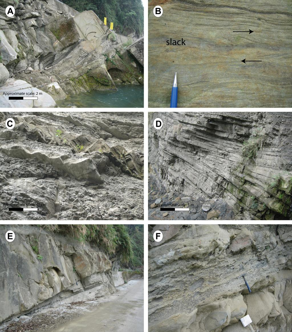 66 S. Castelltort et al. / Journal of Asian Earth Sciences 40 (2011) 52 71 Fig. 14. Field photographs of the facies observed on the Tseng Wen Dam section. (A) Large-scale view of a sand body of FA5.