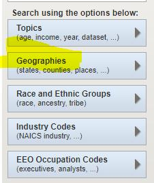 Getting ACS Data A good starting point is: Figure 6: Setting the Geography https://factfinder.census.gov/faces/nav/jsf/pages/searchresults.xhtml?