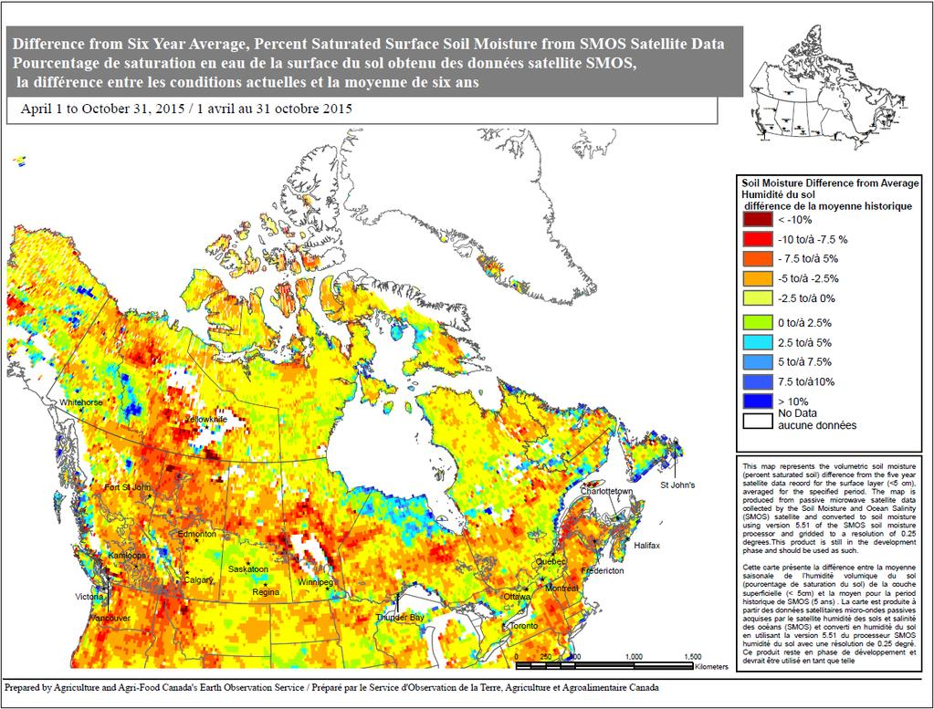 Figure 9: Soil Moisture from SMOS Satellite Data (AAFC) BASE CONDITIONS Rivers Most of the major rivers are above normal for this time of year.
