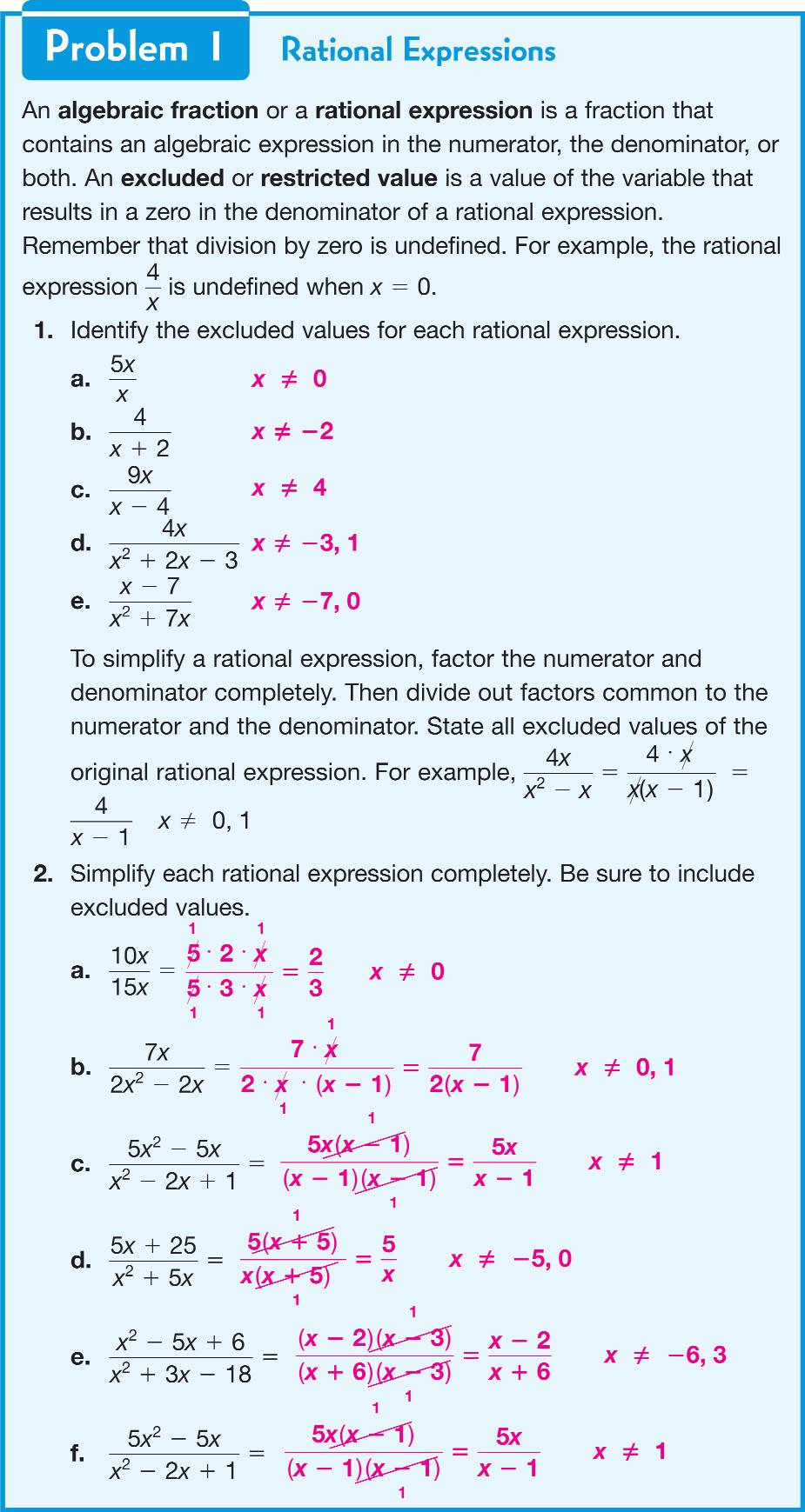 Explore Together Problem 1 The definition of an algebraic fraction or rational expression is provided for students, with explanations of excluded or restricted values.