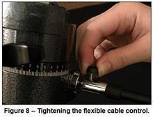 Step 9: Next, attach the other flexible cable (the right ascension flexible cable control) to the worm gear drive