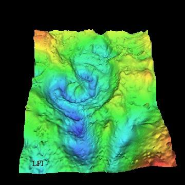 Chicxulub is a multi ringed impact basin Gravity profile maps show the details of the partially submerged structure,