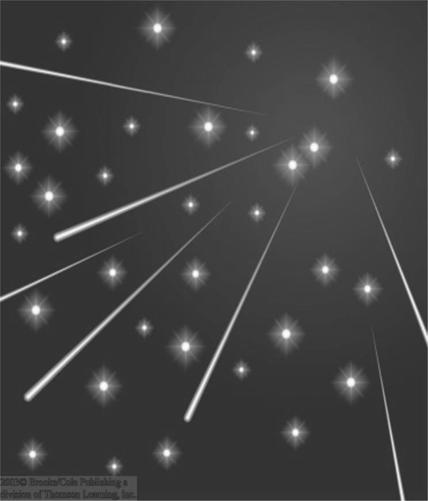Radiants of Meteor Showers Tracing the tracks of meteors in a shower backwards, they