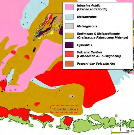 that the East Java area is part of the Sundaland from time to time while the second idea mentioned that East Java area is a continental fragment detached from the Gondwana super-continent drifted