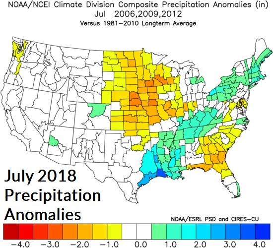 Fig. 12-14: Climate Impact Company constructed analog forecast for temperature and precipitation anomalies for July 2018 is indicated.
