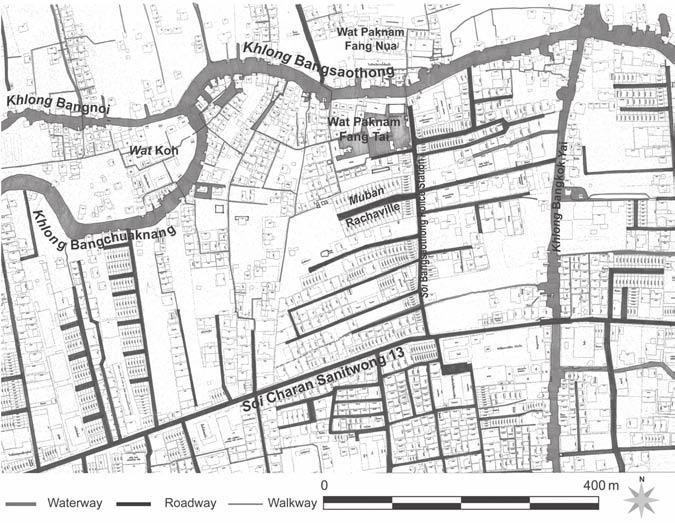 278 Jiraprasertkun Figure 17.4 Wat Paknam Fang Tai and its surroundings, Thonburi, in 2004 Source: Modified from Metropolitan Electricity Authority survey.
