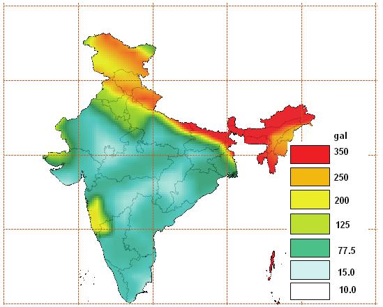 Fig. Seismic Hazard Map of India with Return Period of 475 years i.e. 10% probability in 50 years. The value of PGA is expressed in terms of gal.