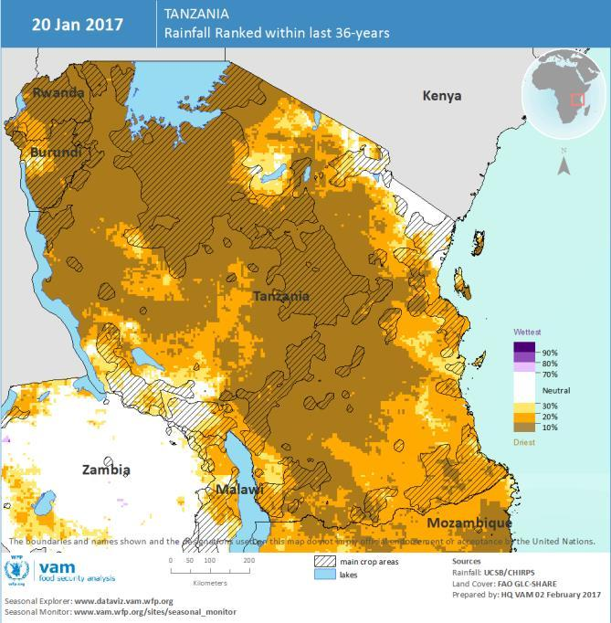 The drought has spread virtually across the whole country with the provinces of the center-south, Morogoro, Dodoma and Iringa most affected. January was one of the driest of the last 36 years.
