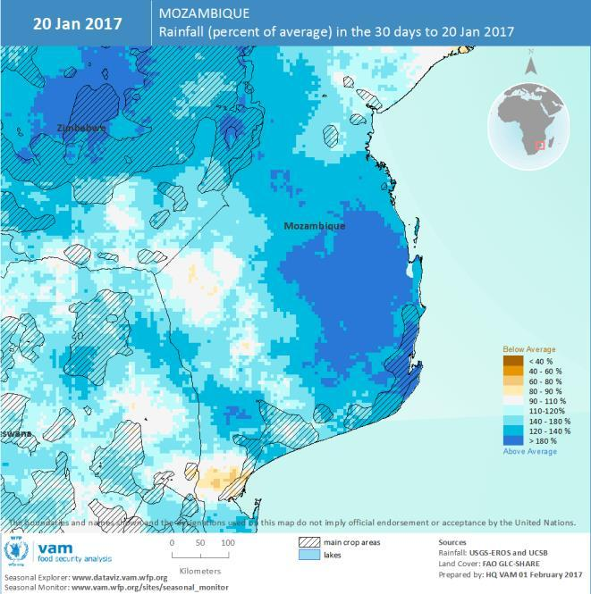 Mozambique: Northern dryness, southern flood Mozambique displays contrasting fortunes in weather conditions: The northernmost provinces are experiencing drier than average conditions caused by the
