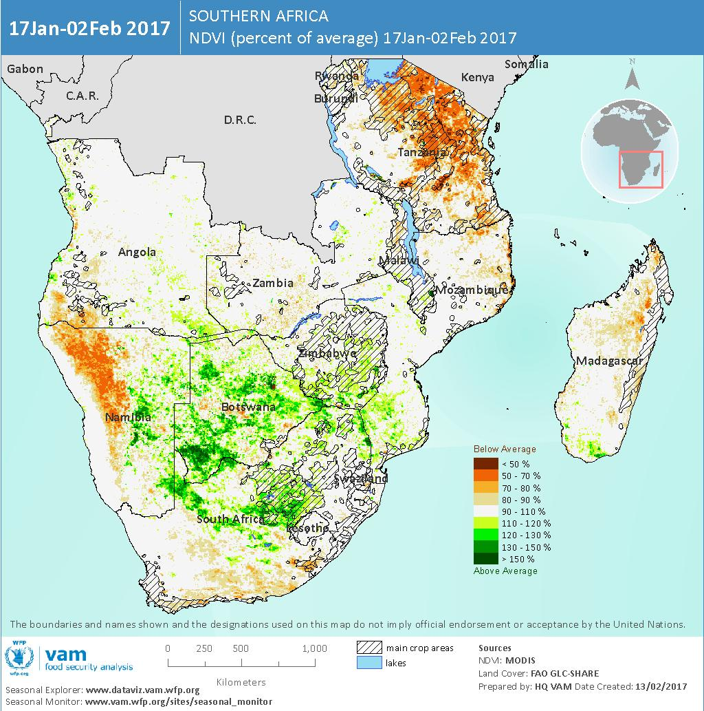 Current Start of Season and Vegetation Cover Patterns Vegetation Cover Responds to Better Rainfall The multi-year drought had severely depleted soil moisture at the outset of the current season.