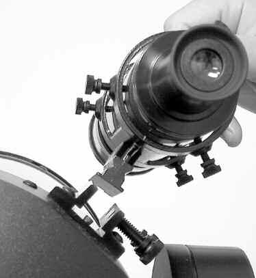 Center the object, as precisely as possible, in the SP 26mm eyepiece's field of view. Tighten the vertical and horizontal locks (6 and 9, Fig.