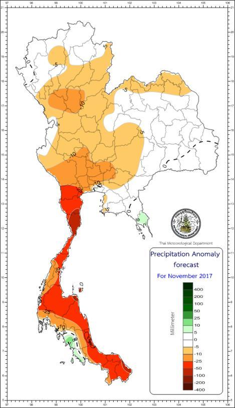 Precipitation forecast for January 2018 Precipitation anomaly forecast for November
