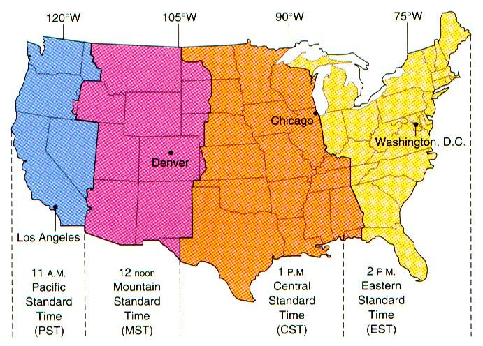 Standard Time Zones 24 time zones Centers theoretically 15 O apart Some adjustments for local political reasons Lawton would be in the Mountain time zone with a strict