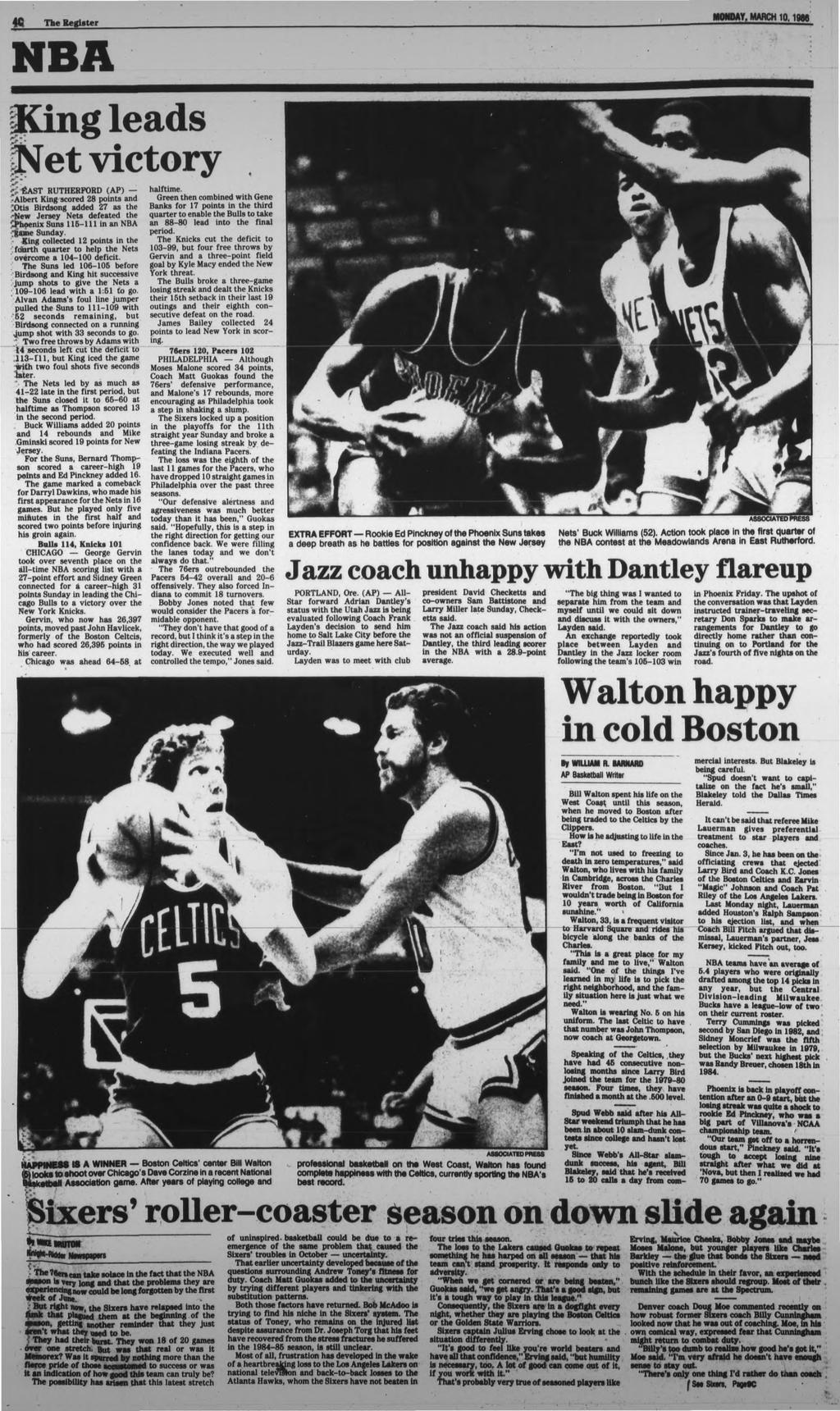 The Register ODAY. ARCH 0,986 NBA King leds jftet victory K tfast RUTHERFORD (AP) -Albert King scored 28 points nd ;Otis Birdsong dded 27 s the Jersey Nets defeted the enix Suns 5- in n NBA _ jsundy.
