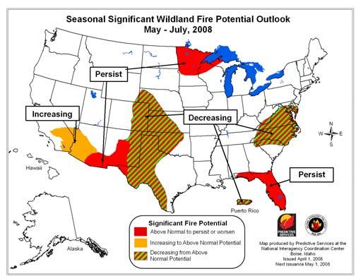 Below normal significant fire potential is expected over the Ohio River Valley.