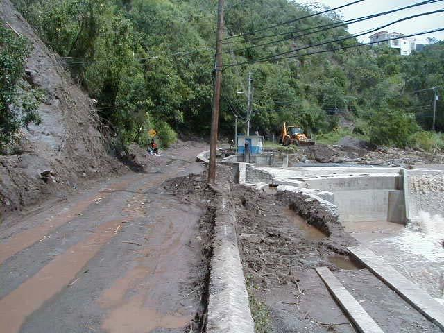 IN 2004 following hurricane Ivan rainfall and also in 2005 landslide debris again