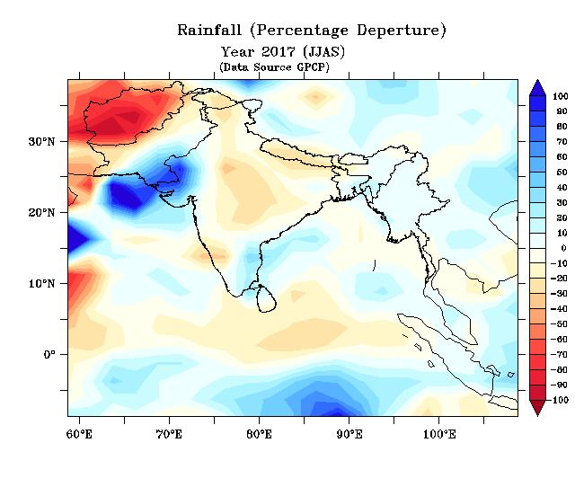 Below-normal rainfallwas forecasted over broad areas of north-western, central and south-eastern parts of South Asia and above-normal rainfall was forecasted over broad areas of eastern and the