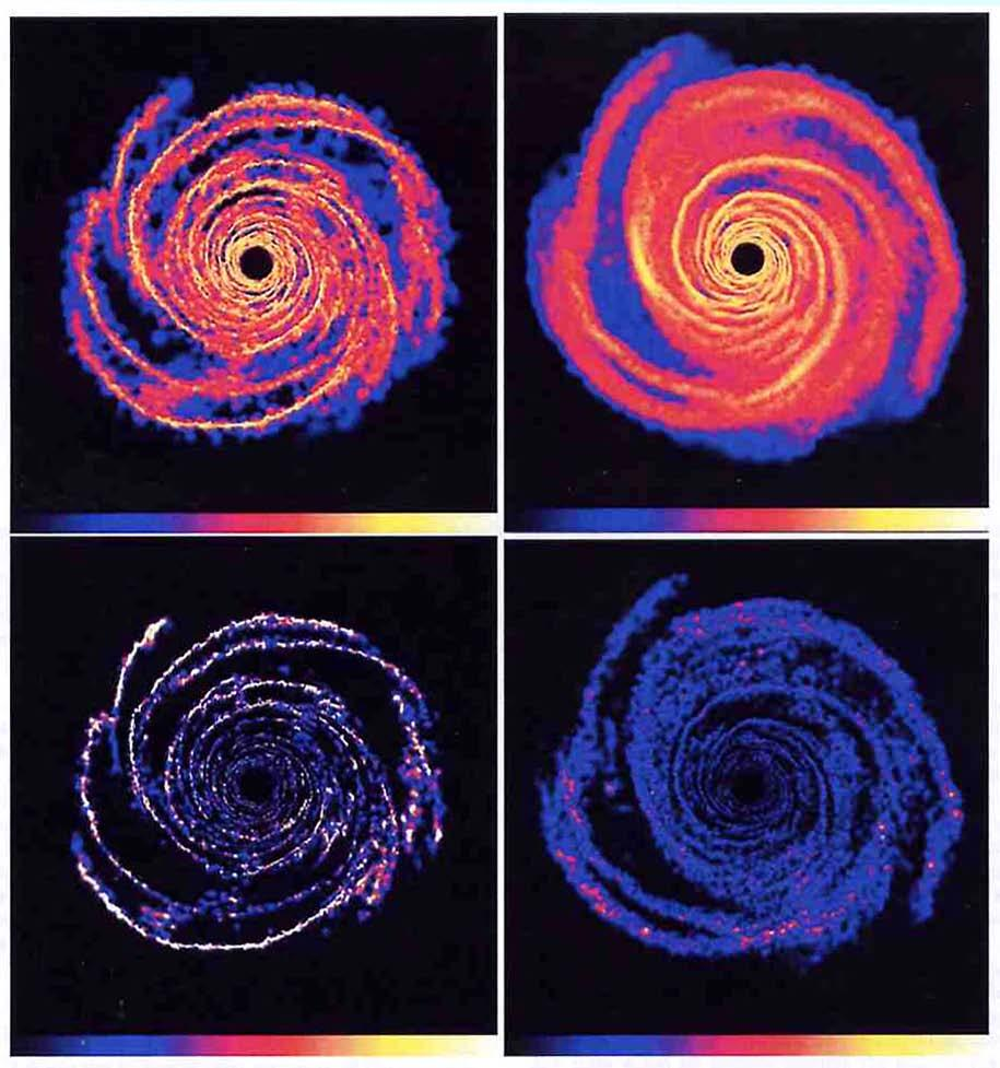 Computer simulation of gas and dust grains in a protostellar disk, for different