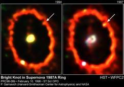 Supernova 1987A First observed February 24, 1987 in the Large Magellanic Cloud Thought to be 10 million years old with a mass of 20 M sun 160,000 LY away When it became a red giant, material was