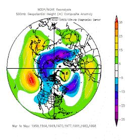 Predictions are based upon analog years that also had a waning El Nino in April