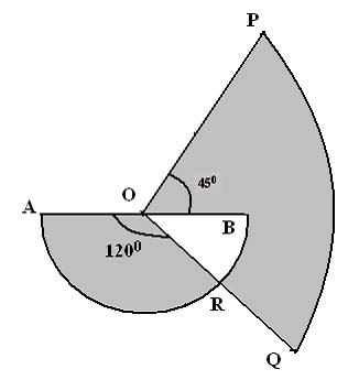 9. Diagram 4 shows a sector OPQ of a circle with center O and a semicircle with diameter AOB. Given that OB = 7 cm and OP = OB.